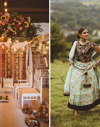 Fusion Rustic Indian Country Wedding at The Green Cornwall | Mandap & Giant Balloon Wedding Decor | Gatsby Lady Bridal Gown | Matt Penberthy Photography