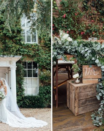 Boho meets French Rustic at Northbrook Park in Surrey | Bride wears Made With Love | Tumbling Foliage and Big White Blooms | Images by Charlotte Bryer-Ash