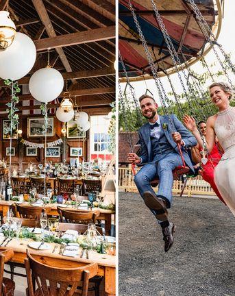 Vintage Fairground at Blists Hill Victorian Town Museum in Ironbridge | Halterneck Tulle Wedding Dress by Allure Bridal | Lisa Carpenter Photographer