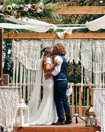 Macrame Decor, Vintage Caravan Photobooth and Five-Tier Naked Wedding Cake for Boho Wedding in Woodlands, shot by Freckle Photography