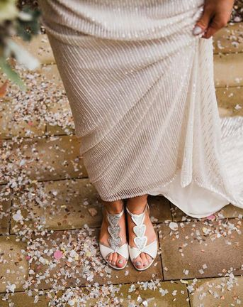 Best Wedding Shoes for 2019 | Flat Embroidered Bridal Shoes | Silver and Ivory Strappy Wedding Shoes