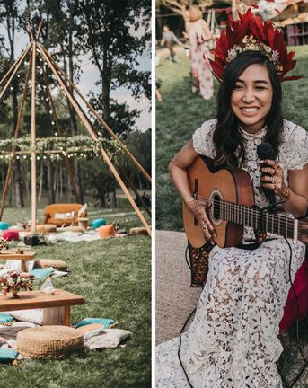 Festival Wedding with Naked Tipi Chill Out Area, Lace Bridal Separates, Feather Flower Crown and Protea Bouquet, shot by Serafin Castillo