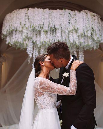 Croatia Destination Wedding on the Dalmatian Coast with Stylish White Flowers and Bride in Anna Kara, shot by Sasa Tomic Photography