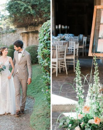Peach and White Wedding Flowers