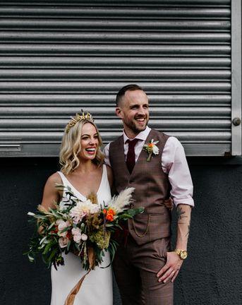 Gold Bridal Crown & Minimalist Wedding Dress for an Industrial Wedding