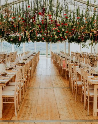 Hanging Flowers For Vegan Wedding With 14 Bridesmaids In Scotland