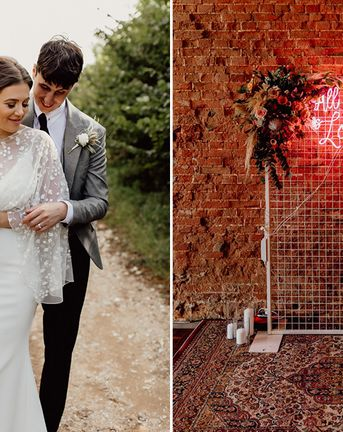 Norfolk Barn Wedding With Lace Bridal Cape And Neon Signs