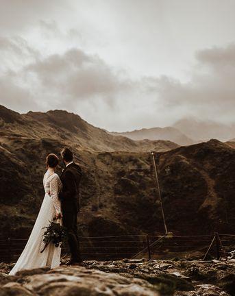 Snowdonia Wedding with Watters Wedding Dress & Foliage Bouquet