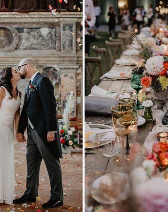 Flower Centrepieces & Pampas Grass at Romantic Italian Wedding