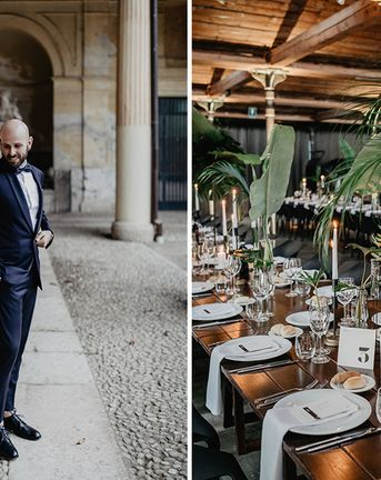 Navy Tuxedo for Wedding at Contemporary Industrial Warehouse in Italy