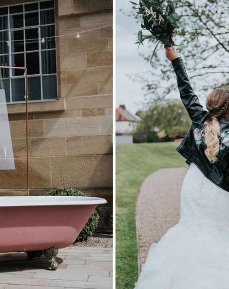 Pink Roll Top Booze Bath and Copper & Perspex Wedding Decor at Industrial Venue The West Mill   Customised Leather Jacket   Rosie Kelly Photography