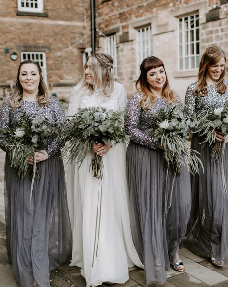Bridesmaids In Charcoal Grey Dresses