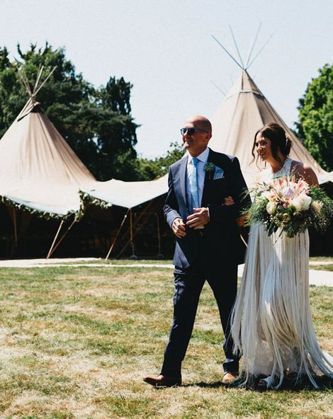 Fringed Wedding Dress For A Tipi Wedding