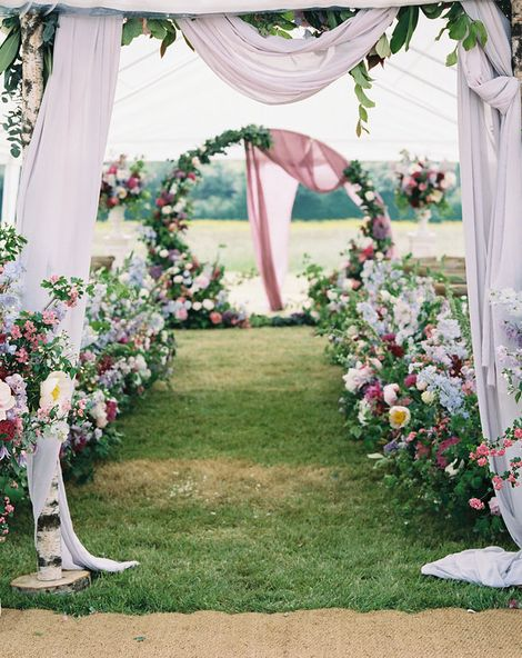 Peonies, David Austin Roses, Foxgloves & Delphiniums For A Flower Filled Marquee Wedding