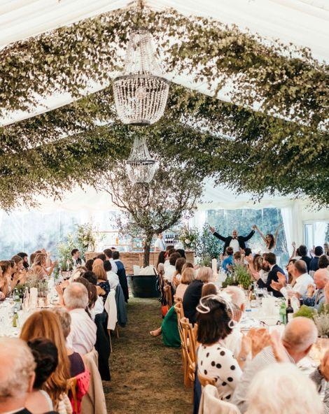 Enchanted Forest Marquee in Jersey | Foliage Installations | Quints of Jersey Stationery | Bride Wears Enzoani | Images by Max Burnett