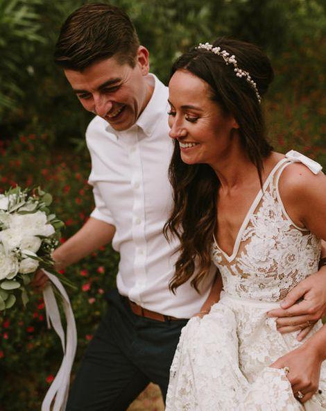 Lace Inbal Dror Wedding Dress for a Destination Barcelona Wedding Weekend | Outdoor Wedding Ceremony | White Flowers & Foliage | Marcos Sanchez