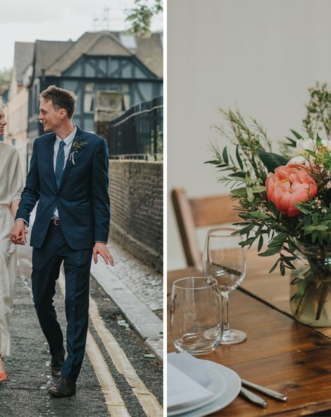 Coral Peony Humanist Wedding at The Tab Centre Shoreditch   Wrap Front Wedding Dress   DIY Flowers   Cake Tabel   Remain in the Light Photography