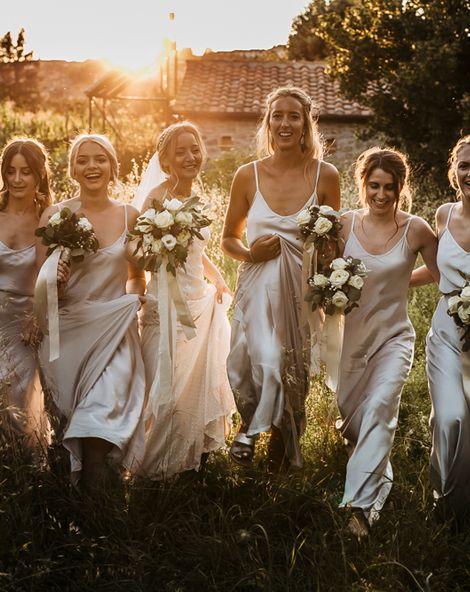Monastery Wedding at Monastero San Silvistro Cortona Tuscany | David Fielden Bridal Gown | Spaghetti Strap Grey Ghost Bridesmaid Dresses | Joe Burford Photography