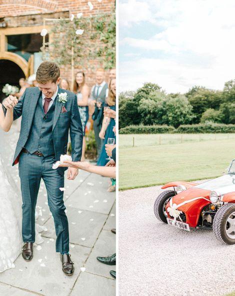 Hazel Gap Barn Wedding with Bride Arriving by Kit Car | Sassi Holford Wedding Dress | Valentino Rockstud Heels | Sarah-Jane Ethan Photography