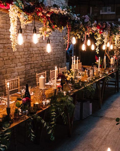 Edison Bulb Floral Installation at Kingsthorpe Lodge Barn   Sassi Holford Bridal Gown   Dessy Bridesmaids Dresses   Johnny Dent Photography