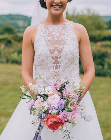 Halterneck Maggie Sottero Dress and Garden Games at Gate Street Barn   Beaded Halterneck Lisette Bridal Gown by Maggie Sottero   Story + Colour Photography