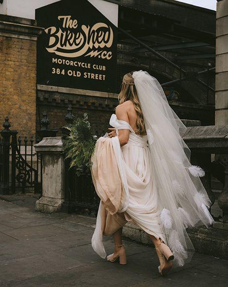 Bike Shed Motorcycle Club Wedding for ELLE Digital Editor | Bespoke Bridal Dress | Paul Smith Suit | Drag Queen | Nigel John Photography