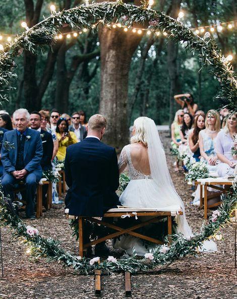 Puglian Countryside Wedding with Fairy Light Altar and Olive Grove Aperitivo | Anna Kara Wedding Dress | Britten Weddings Veil | Figtree Wedding Photography