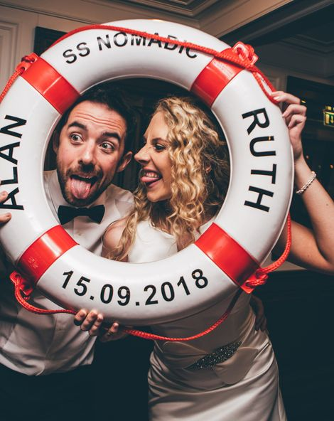 Nautical Wedding on SS Nomadic Boat in Belfast with Black Tie Dress Code and Bride in Jesus Peiro, shot by Sarah Gray Photography