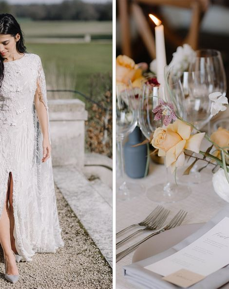 Understated Luxury at St Giles House by Fern Godfrey Weddings with Creamy blossom tones, muted yellows and earthy taupe shades