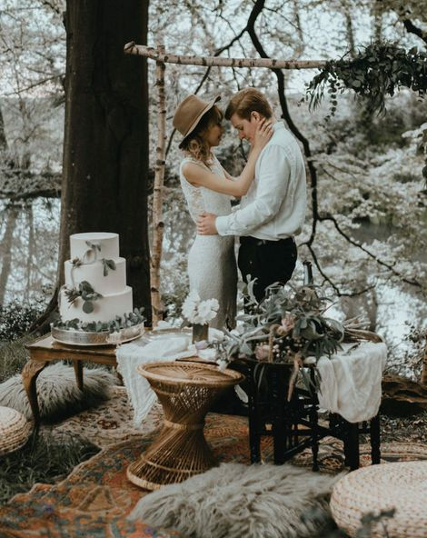 Boho Style Wedding Inspiration at Patrick's Barn Sussex with Lace Wedding Dress