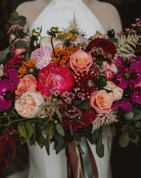 Pink Wedding Bouquet for a Rainy Wedding at Askham Hall