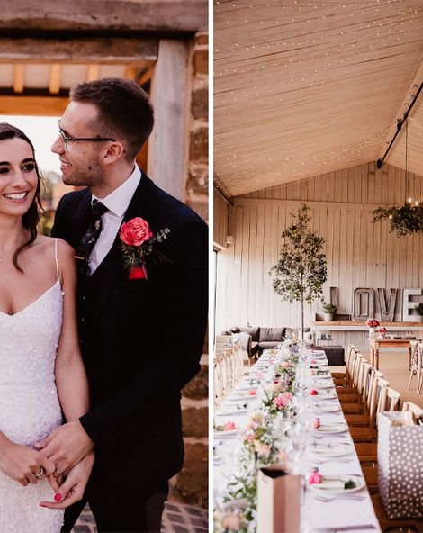 Primrose Hill Farm Wedding With Neon Wedding Signs and Pink Flowers