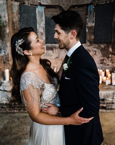 Anna Campbell Wedding Dress With Hexagonal Wedding Cake In London