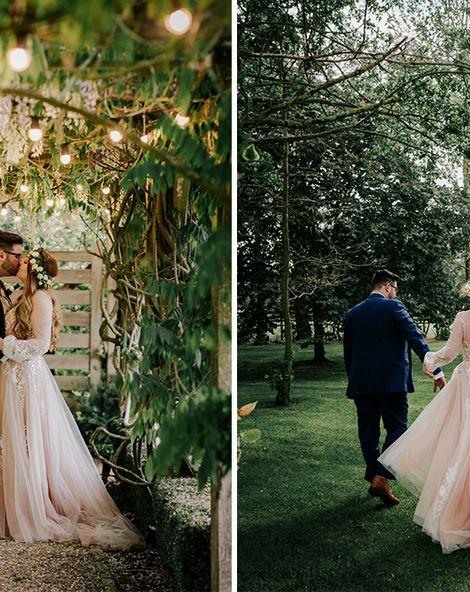 Pink Wedding Dress With Sequin Bridesmaids At Tythe Barn Wedding