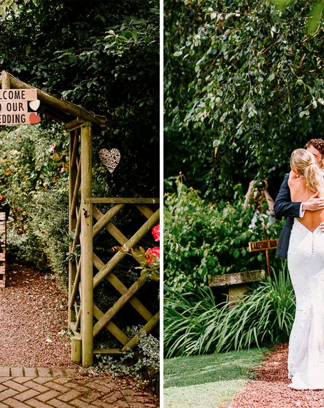 Backless Wedding Dress With Bright Flowers In Clearspan Marquee