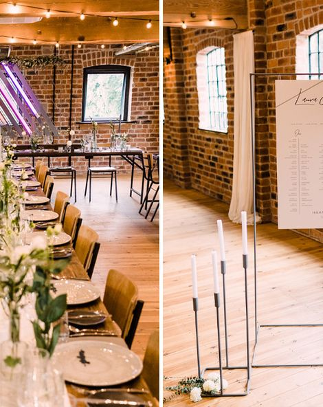 Haarlem Mill Wedding With Geometric Decor And Neon Signs