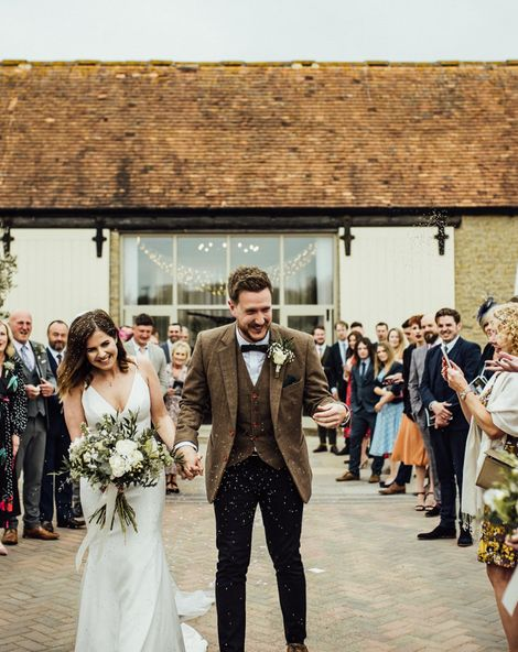 Oxfordshire Barn Wedding With Neon Signs & Sassi Holford Bride Dress
