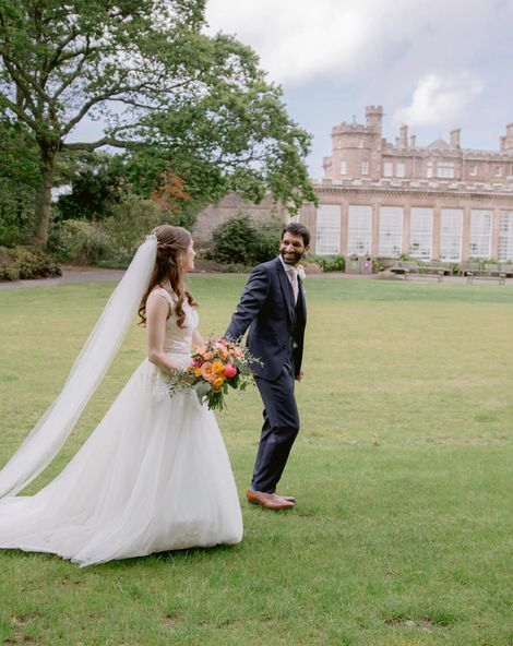Culzean Castle Wedding With Peony Flowers & Princess Bride Dress