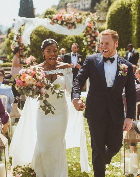 Lake Como Wedding with Bride in Justin Alexander Bridal Cape