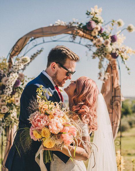 Villa di Ulignano Outdoor Italian Wedding with Watters Wedding Dress