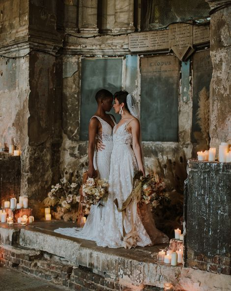 Asylum London Wedding inspiration with Two brides in different wedding dress and dried flower wedding table decor