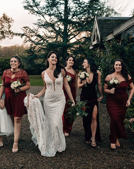 Stylish burgundy bridesmaid dresses for all season with floor-length, short, lace, sparkly and satin styles and fabrics.
