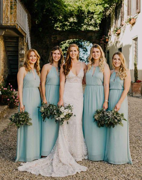 C5 Cover bridesmaid dresses in mint green