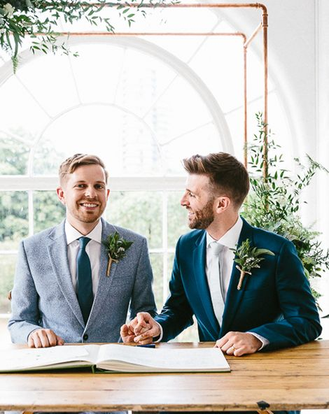 same sex wedding with industrial styling at wimborne house