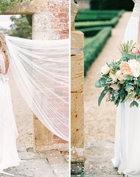 Anna Campbell Bridal Elegant Wedding With Peach Colour Scheme