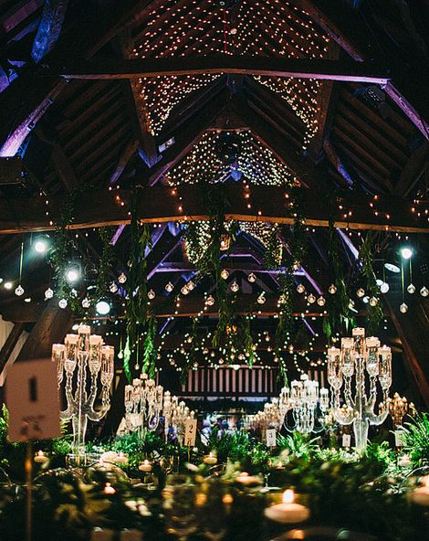 Black Tie Botanical Wedding with Acrylic Candelabras, Louis Ghost Chairs & Candle Light at Rivington Hall Barn