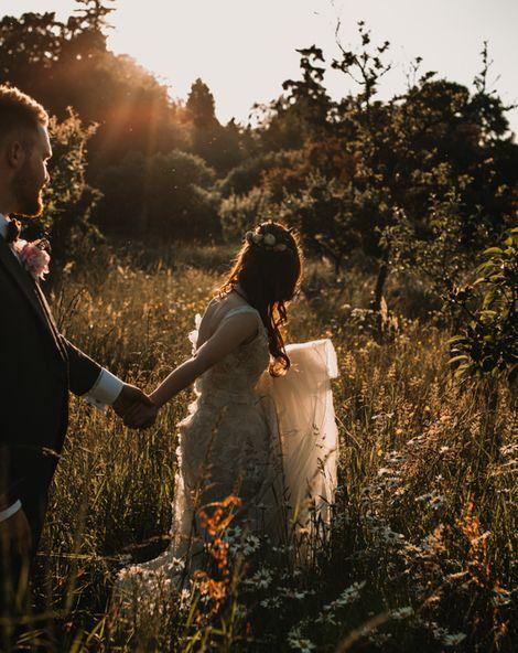 Pre-Raphaelite Mood Wedding at Hever Castle in Kent   Appliqué Flowers Yolan Cris 'Espino' Wedding Dress   Rewritten Bridesmaids   Choccywoccydoodah Cake   Carla Blain Photography