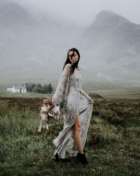 Embellished 'Astraea' Ritual by Brooke Tyson Bridal Gown   Celestial Vale Scottish Highlands Inspiraiton   Heavenly Blooms   Bonnie Jenkins Photography