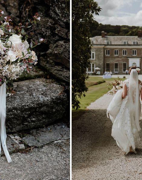 Outdoor Cornish Wedding at Boconnoc Estate   Lace Pronovias Wedding Dress   Mint Green Bridesmaid Dresses   Nick Walker Photography