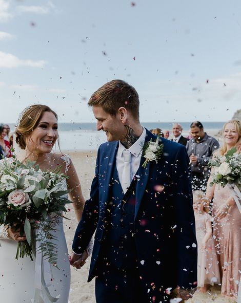 Lusty Glaze Beach Wedding Newquay Cornwall   Lace Long Sleeve Martina Liana Wedding Dress   Blue Jarlo London Bridesmaid Dresses   Alexa Poppe Photography